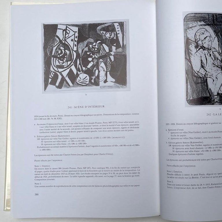 Paper Picasso Peintre-Graveur, Catalogue Raisonne, Tome 1, by Bernhard Geiser For Sale