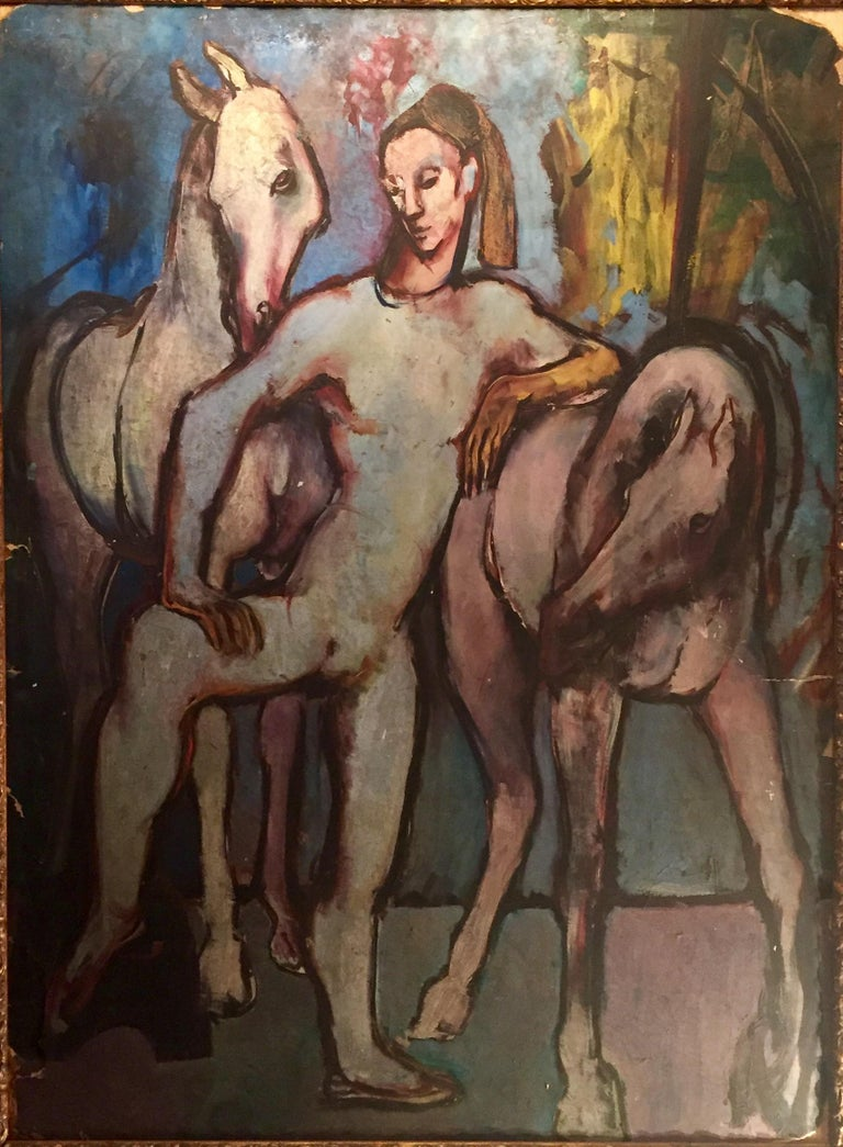 """This is a masterfully painted work in the style of Picasso's Rose period. It leans on the famous painting, """"Boy Leading a Horse"""". Executed in oil on artist cardboard, circa 1910. The harlequin or carnival performer is a pleasant theme. The painting"""
