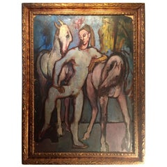 Picasso School Painting of a Harlequin with Horses, Oil on Artist Cardboard