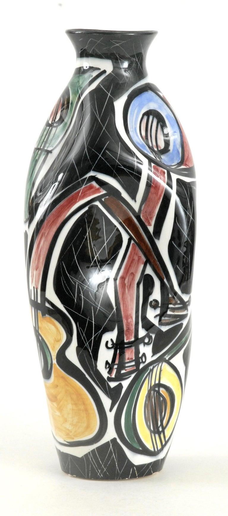Mid-Century Modern Picasso Vase Guitars Ceramico Titano San Marino, Italy, circa 1960 For Sale
