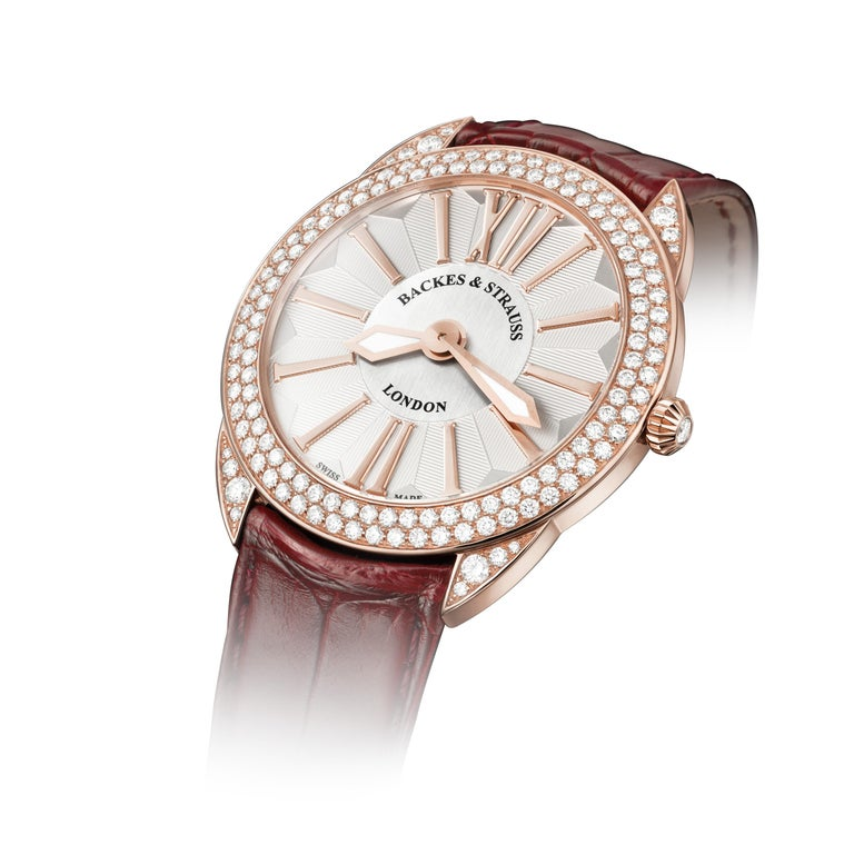 The Piccadilly Renaissance 33 is a luxury diamond watch for women crafted in 18kt Rose gold, featuring the white oval dial, mechanical movement. The case and crown are set with white Ideal Cut diamonds. It is a 33 mm slim watch with the leather