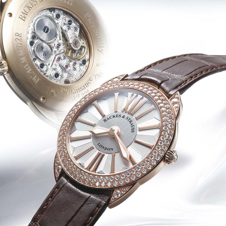 Round Cut Piccadilly Renaissance 33 Luxury Diamond Watch for Women, 18 Karat Rose Gold For Sale