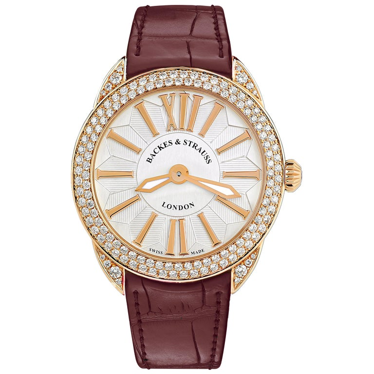 Piccadilly Renaissance 33 Luxury Diamond Watch for Women, 18 Karat Rose Gold For Sale