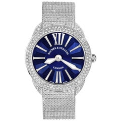 Piccadilly Renaissance 40 Luxury Diamond Watch Men's and Women, White Gold