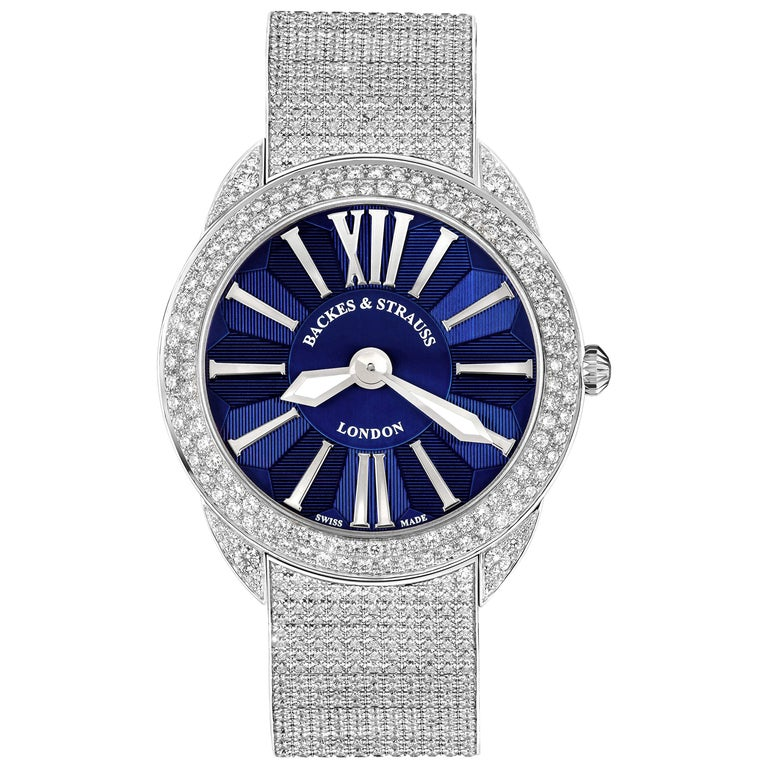 Piccadilly Renaissance 40 Luxury Diamond Watch Men's and Women, White Gold For Sale