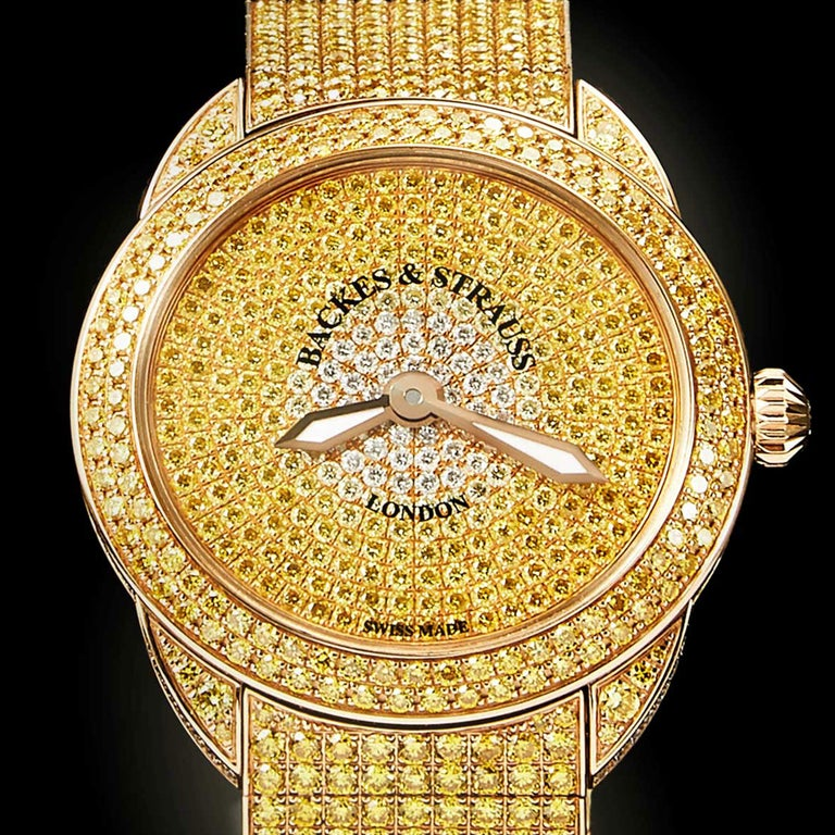 Round Cut Piccadilly Renaissance Ballerina Jonquil 33 Luxury Diamond Watch for Women For Sale