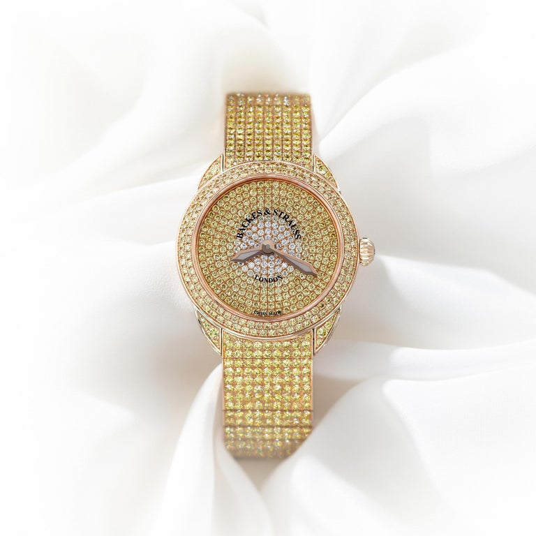 Piccadilly Renaissance Ballerina Jonquil 33 Luxury Diamond Watch for Women In New Condition For Sale In LONDON, GB