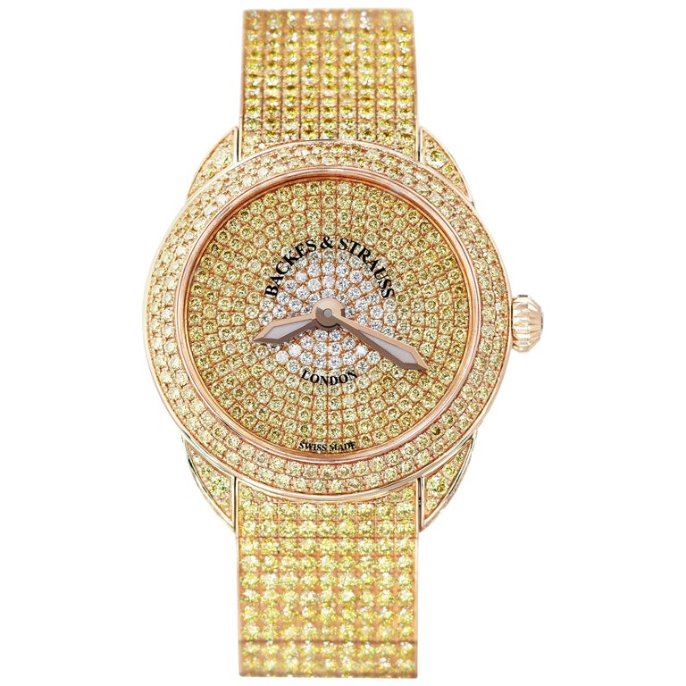 Piccadilly Renaissance Ballerina Jonquil 33 Luxury Diamond Watch for Women For Sale