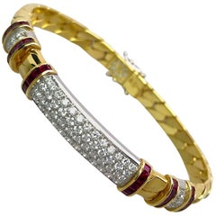 Picchiotti 18 Karat Gold, 2.05 Carat Ruby and 1.14Ct. Diamond Gourmette Bracelet