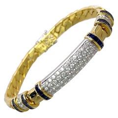 Picchiotti 18 Karat Gold, 2.42 Carat Diamond and Sapphire Gourmette Bracelet