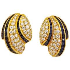 Picchiotti 18 Karat Gold 4.58 Carat Sapphire and 2.32 Carat Diamond Earrings