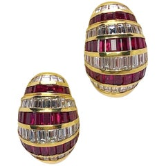 Picchiotti 18 Karat Gold, 5.64 Carat Ruby and 4.59 Carat Diamond Bombe Earring