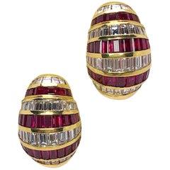 Picchiotti 18 Karat Gold, 5.64 Carat Ruby and 4.59 Carat Diamond Bombe Earring