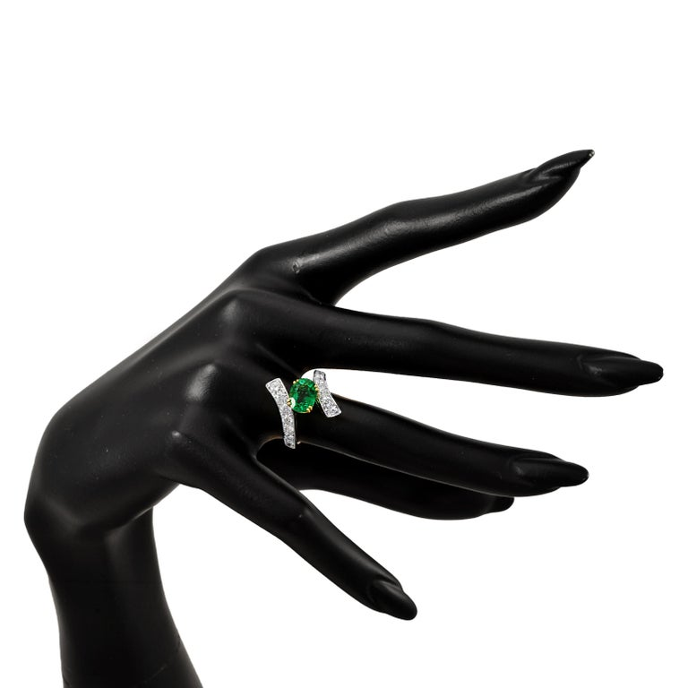 Oval Cut Picchiotti 18 Karat White and Yellow Gold Fashion Ring with Diamonds and Emerald For Sale