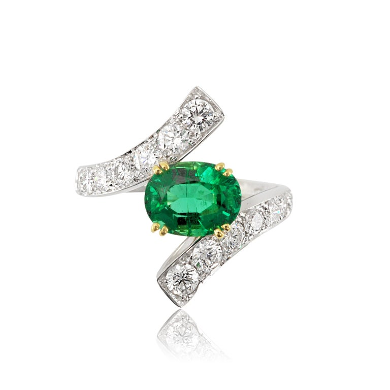 Women's Picchiotti 18 Karat White and Yellow Gold Fashion Ring with Diamonds and Emerald For Sale