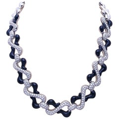 Picchiotti 18 Karat White Gold, 10.87 Carat Diamond and Black Onyx Necklace