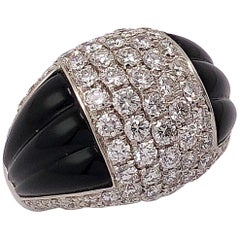 Picchiotti 18 Karat White Gold, 1.94 Carat Diamond and Black Onyx Ring