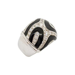 Picchiotti 18 Karat White Gold .84 Carat Diamond & Black Onyx Tiger Pattern Ring