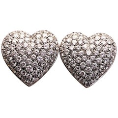 Picchiotti 18 Karat White Gold and 5.37 Carat, Diamond Heart Earrings