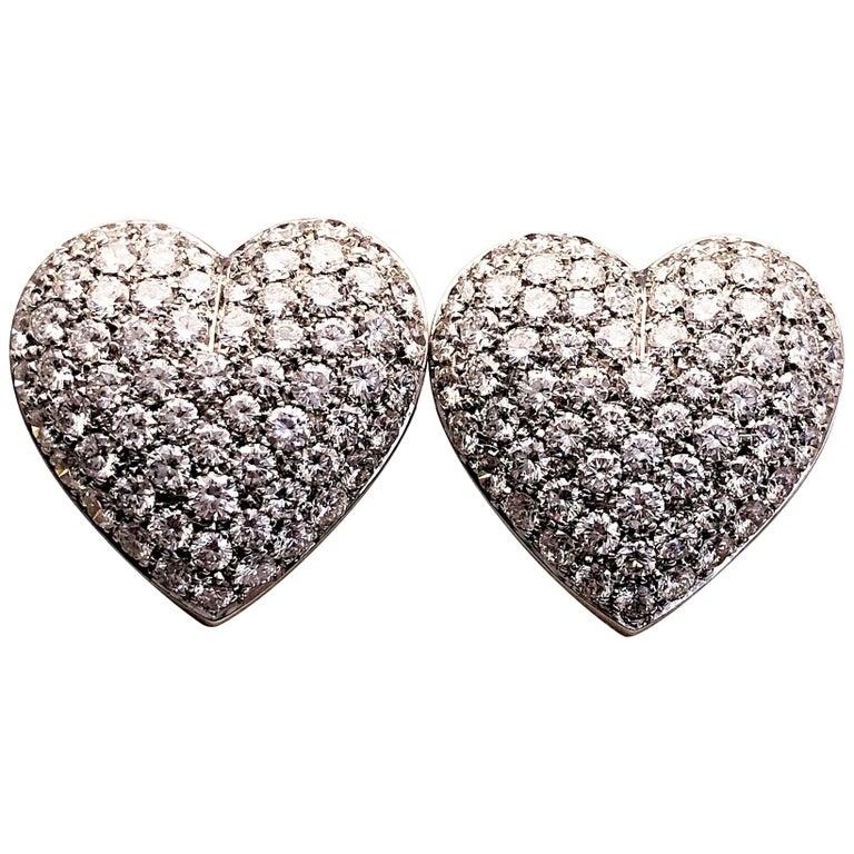 Picchiotti 18 Karat White Gold and 5.37 Carat, Diamond Heart Earrings For Sale