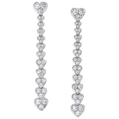 Picchiotti 18 Karat White Gold, Cascading Diamond Heart Drop Earrings