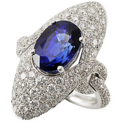 Picchiotti 18 Karat White Gold Round Diamonds and Oval Sapphire Cocktail Ring