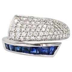 Picchiotti 18 Karat White Gold Sapphire Diamond Bypass Band Ring