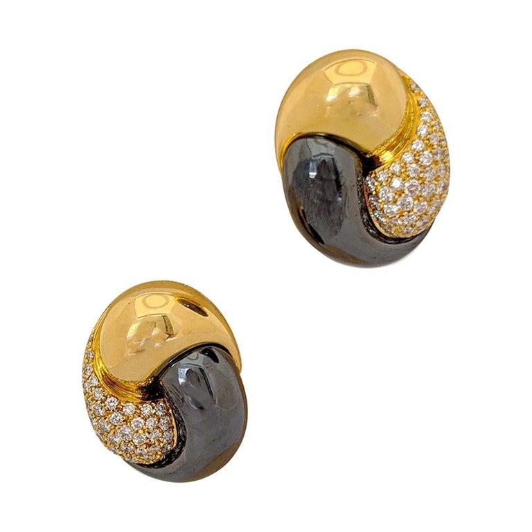 Picchiotti 18 Karat Yellow Gold, 2.27 Carat, Diamond and Hematite Earrings For Sale