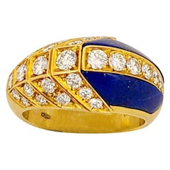 Picchiotti 18 Karat Yellow Gold .91 Carat Diamond and Lapis Lazuli Ring