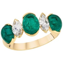 Picchiotti 18 Karat Yellow Gold Oval Emerald and Marquis Diamond Ring