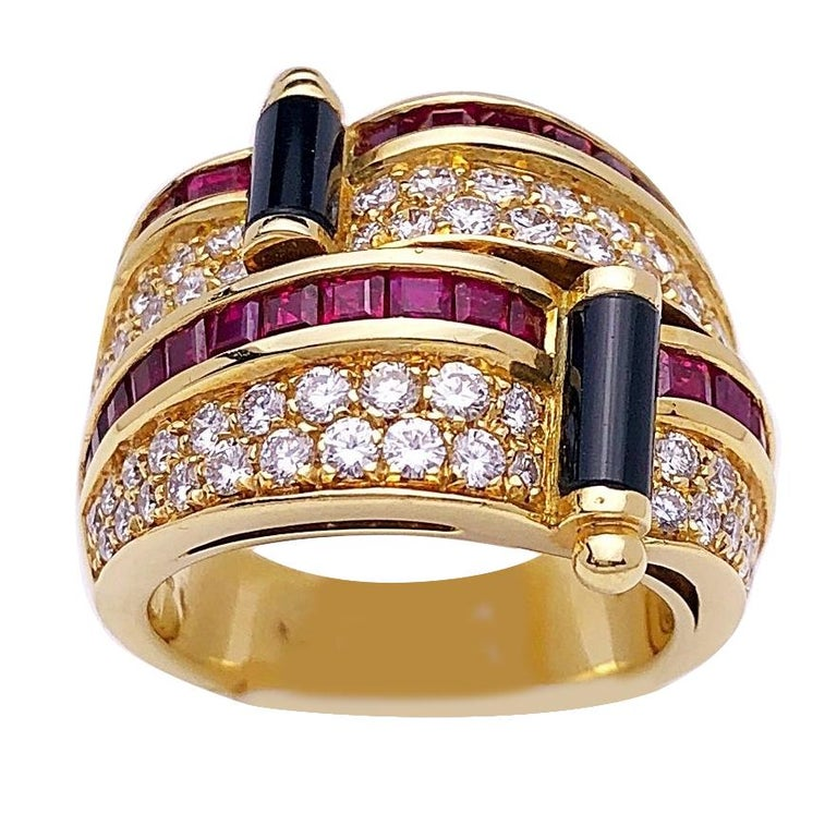 Picchiotti 18 Karat Yellow Gold Ring with Diamond, Ruby, and Black Onyx For Sale