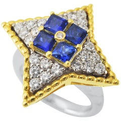 Picchiotti 18k White and Yellow Gold Ring with Blue Sapphires and Round Diamonds