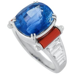 Picchiotti 18k White Gold 1.42 Carat Diamond Pave and Sapphire Royal Blue Ring