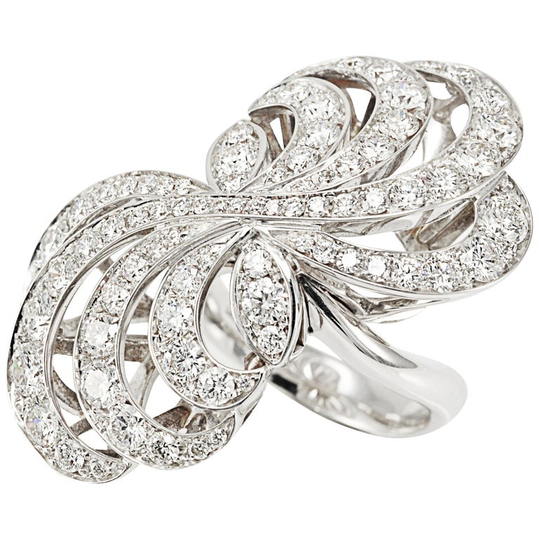 Picchiotti 18K White Round Diamond Cocktail Ring For Sale
