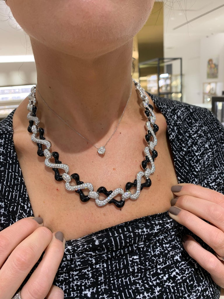 Round Cut Picchiotti 18 Karat White Gold, 10.87 Carat Diamond and Black Onyx Necklace For Sale