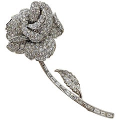 Picchiotti 18 Karat White Gold and 5.30 Carat Diamond Rose Brooch