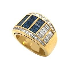 Picchiotti 18KT Yellow Gold 2.14Ct Diamond & 1.68Ct Blue Sapphire Band Ring