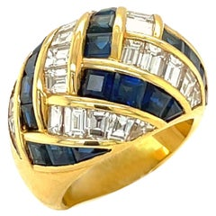 Picchiotti 18 Karat Gold 4.09 Carat Diamond and 4.67 Carat Sapphire Dome Ring
