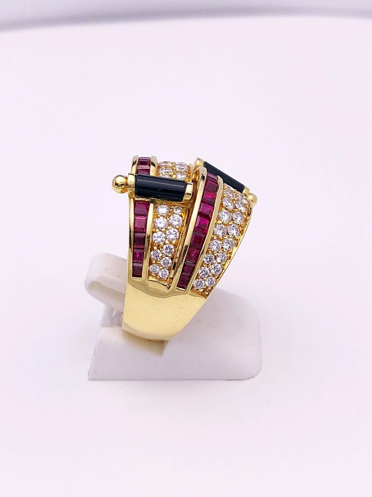 Round Cut Picchiotti 18 Karat Yellow Gold Ring with Diamond, Ruby, and Black Onyx For Sale