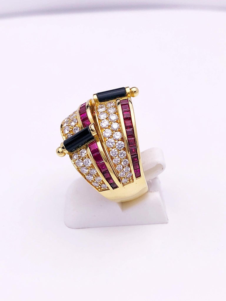 Picchiotti 18 Karat Yellow Gold Ring with Diamond, Ruby, and Black Onyx In New Condition For Sale In New York, NY