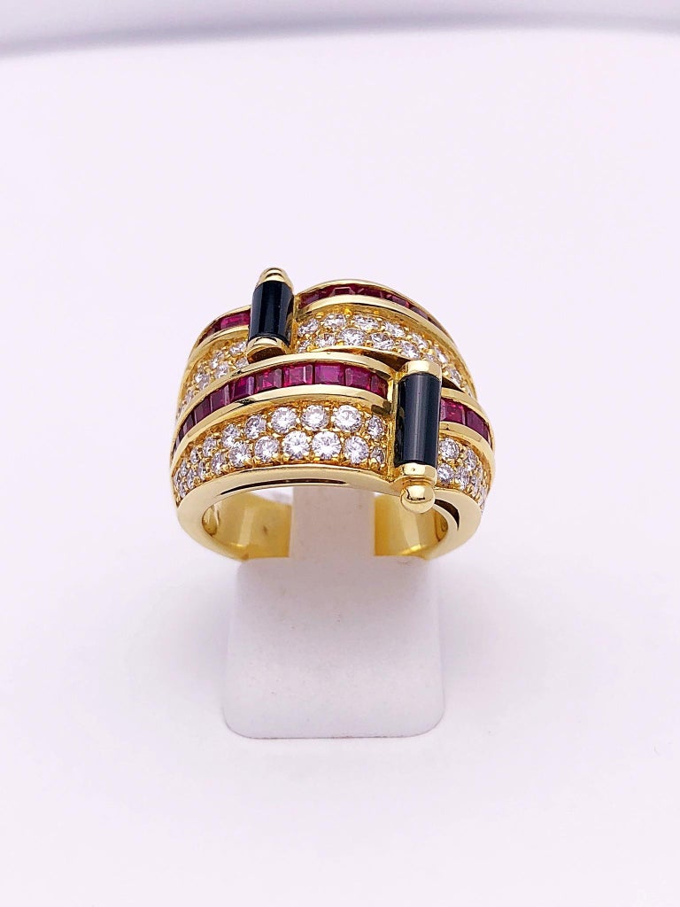 Contemporary Picchiotti 18 Karat Yellow Gold Ring with Diamond, Ruby, and Black Onyx For Sale