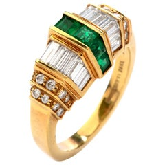 Picchiotti Asscher Emerald Diamond 18 Karat Yellow Gold Ring