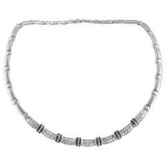 Picchiotti Diamond and Sapphire Invisible Setting White Gold Omega Necklace