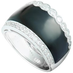 Picchiotti Diamond Pave and Onyx White Gold Wide Band Ring