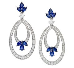 Picchiotti Diamond Sapphire Pendant Drop Earrings White Gold
