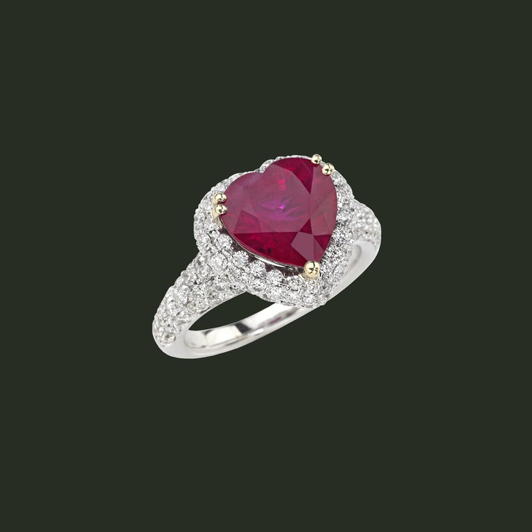 Pear Cut Picchiotti GRS Report 4.29 Carat Heart-shape Burma Ruby and round Diamond Ring For Sale