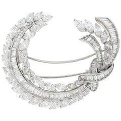 Picchiotti Platin Baguette und Marquise-Diamant-Brosche