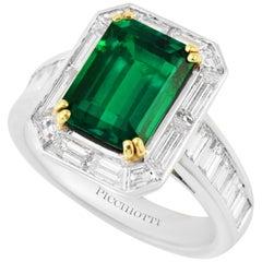 Picchiotti Platinum Ring, Diamond and Gubelin Report 2.62 Octagonal Emerald