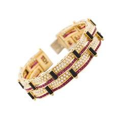 Picchiotti Ruby, Diamond Onyx Gold Bracelet