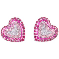 Picchiotti White Gold Diamonds, Rubies and Pink Sapphire Heart-Shaped Earrings